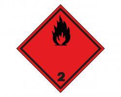 SYMBOLE DANGER 3OO X 3OO FOND ROUGE FLAMME NOIRE CLASSE 3