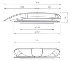 """AERATEUR DE TOIT """"Le Mans"""" 12V Blanc Ral 9010 SANS GRILLE INT."""