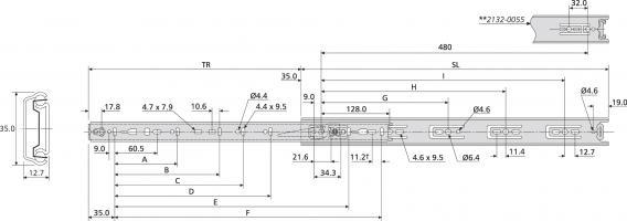Coulisse à billes 2132 Lg 250 -35/50K - Ext. 75% - Blocage Fermeture (paire)