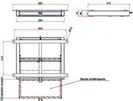 MARCHEPIED TIROIR BANDE-ANTI-DERAPANTE Larg 594mm