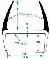 JOINT PVC GRIS LEVRES SYMETRIQUES EP 40 MM LG5M 1132391