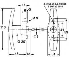 POIGNEE RONIS 1078/40F S/ CAME
