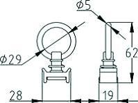 PION SIMPLE AVEC ANNEAU POUR RAIL AERO 18207