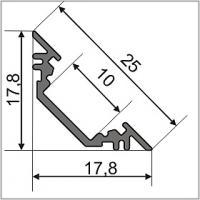 PROFIL LED ALUMINIUM TRIO 45° EN LG DE 2M