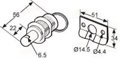 PIN LATCH MT-04-11-24 INOX