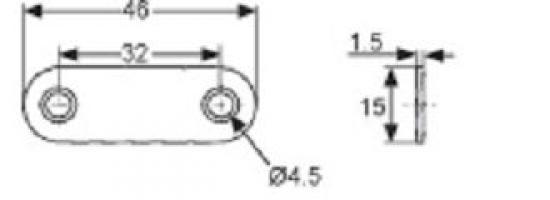 PLAQUE DE LIAISON 46X15X1.5 MM ACIER ZINGUE