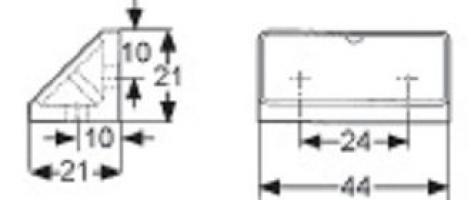 ASSEMBLAGE 4 TROUS 44X21MM PLASTIQUE AULNE RAL 8023 + COUVERCLE