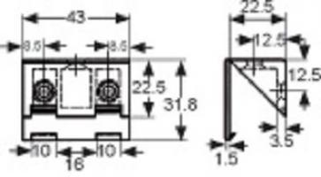 ASSEMBLAGE 3 TROUS 43X23MM PLASTIQUE BLANC + COUVERCLE