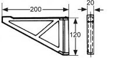 CONSOLE 200X120MM ROTATION 180° PLASTIQUE GRIS