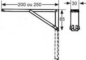 CONSOLE PLIANTE 200X30MM ACIER ZINGUE 40KGS PAR PAIRE (LA PIECE)